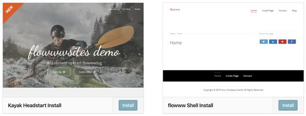 flowww installation demo content